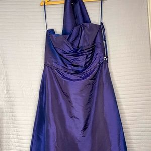 Women's Long Metallic Dark Blue Dress w/ Shaw